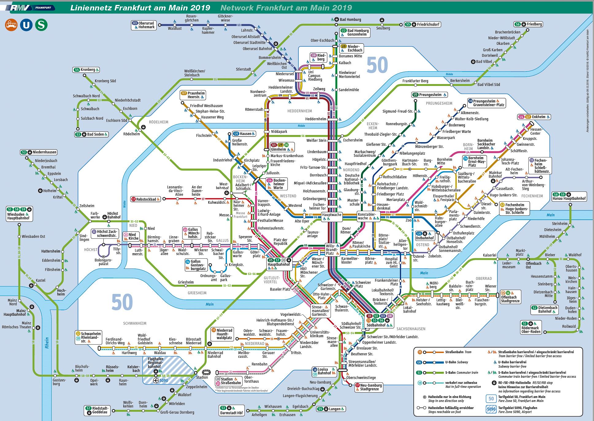 フランクフルトRMVの電車、地下鉄、路面電車の利用法